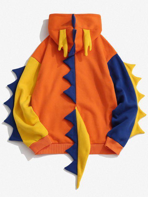 women Fleece Lined Colorblock Dinosaur Hoodie - ORANGE XL Mobile