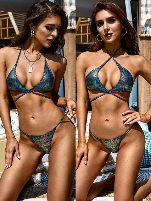 ZAFUL Maillot de Bain Bikini Tanga Enveloppé Métallique à Col Halter - Noir L Mobile
