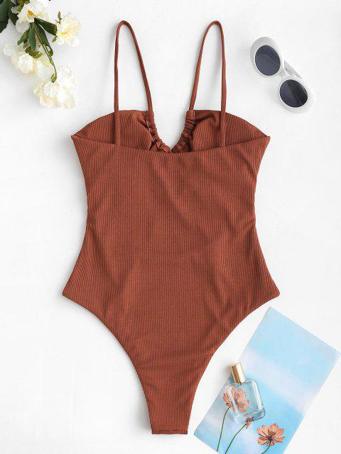 hot ZAFUL Ribbed Cut Out Tie Front One-piece Swimsuit - COFFEE L Mobile