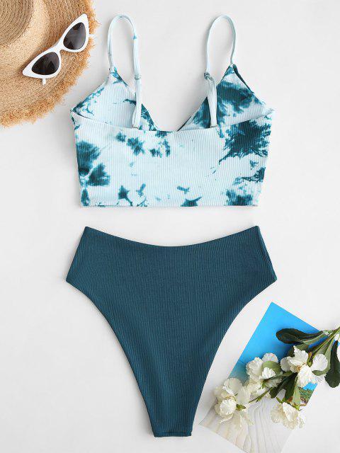 ZAFUL Gerippter Krawattenfärbender Surplice Swimsuit mit Hohem Bein - Dunkelgrün S Mobile