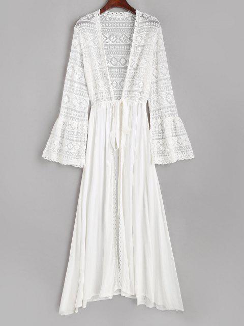 best Lace Bell Sleeve See Thru Longline Wrap Cover Up - WHITE ONE SIZE Mobile