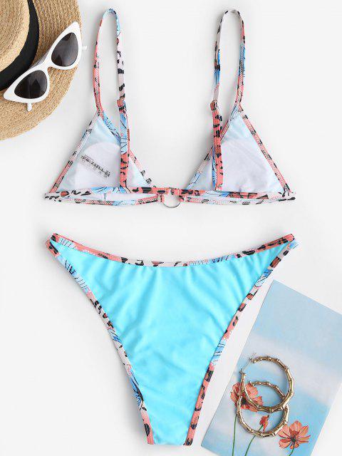 ladies ZAFUL High Cut O-ring Printed Binding Bikini Swimwear - LIGHT BLUE S Mobile