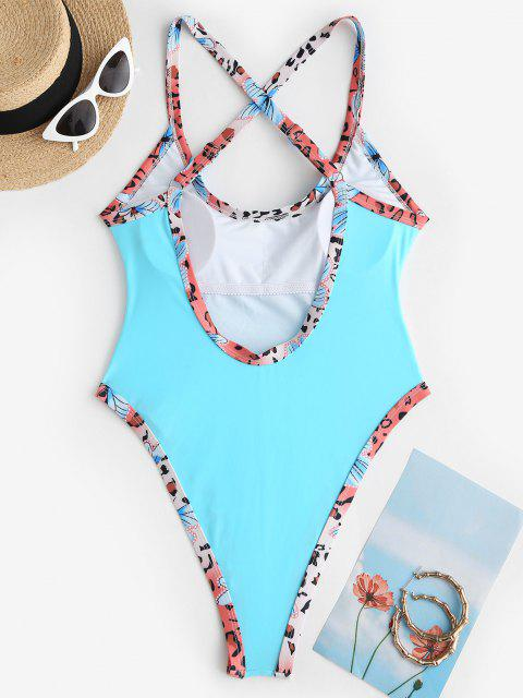 shops ZAFUL Printed Binding High Cut Criss Cross One-piece Swimsuit - LIGHT BLUE S Mobile