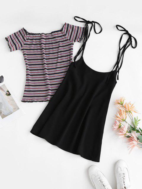 Ribbed Stripes Tee and Tie Shoulder Suspender Skirt Set - أسود S Mobile