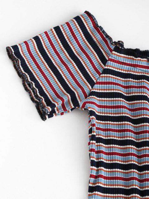 women Ribbed Stripes Tee and Tie Shoulder Suspender Skirt Set - BLACK XL Mobile