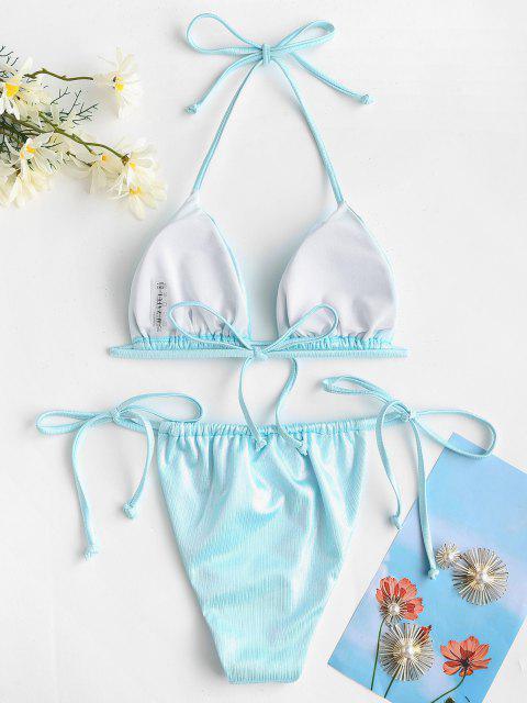 ladies ZAFUL Halter Metallic Tie Side Coated Disco String Bikini Swimwear - LIGHT BLUE L Mobile