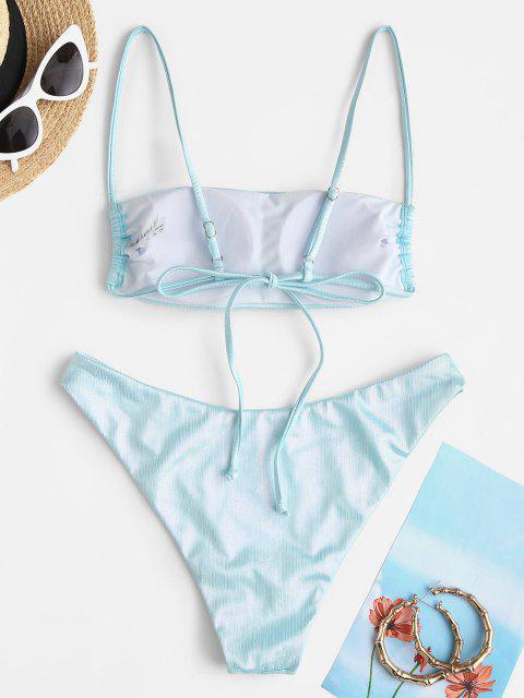 best ZAFUL High Cut Glitter Coated Disco Bikini Swimwear - LIGHT BLUE M Mobile