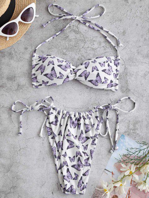 ZAFUL Costume da Bagno Bikini a Costine con Stampa Farfalla - Bianca S Mobile