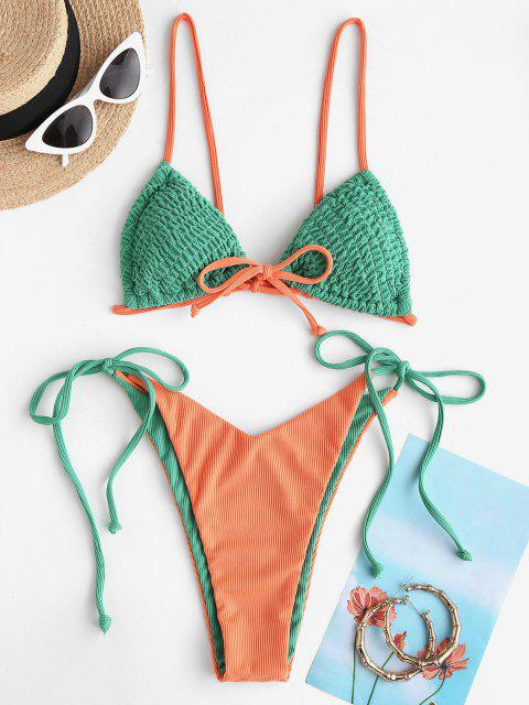 ZAFUL Maillot de Bain Bikini Réversible Plissé Bicolore à Cordon - Vert L Mobile