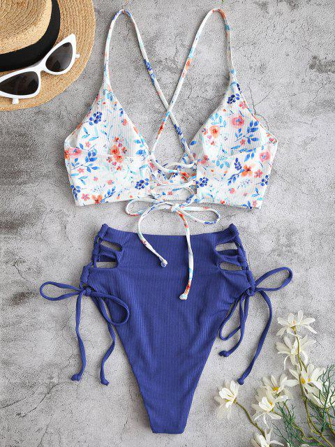 trendy ZAFUL Floral Lace Up High Waisted Tankini Swimwear - DEEP BLUE XL Mobile