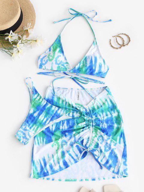 outfit ZAFUL Cinched Tie Dye Three Piece Wrap Tanga Bikini Swimwear - LIGHT GREEN S Mobile