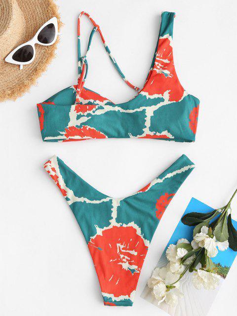 Costume da Bagno Bikini di Tie-Dye a Costine con Scollo Asimmetrico di ZAFUL - Verde S Mobile
