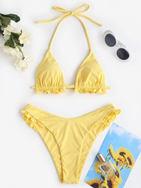 ZAFUL Costume da Bagno Bikini a Costine con Volant Reticolare - Giallo S Mobile