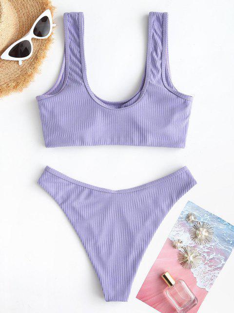 ZAFUL Gerippte Tank Bikini Badebekleidung mit Hohem Bein - Helles Lila S Mobile