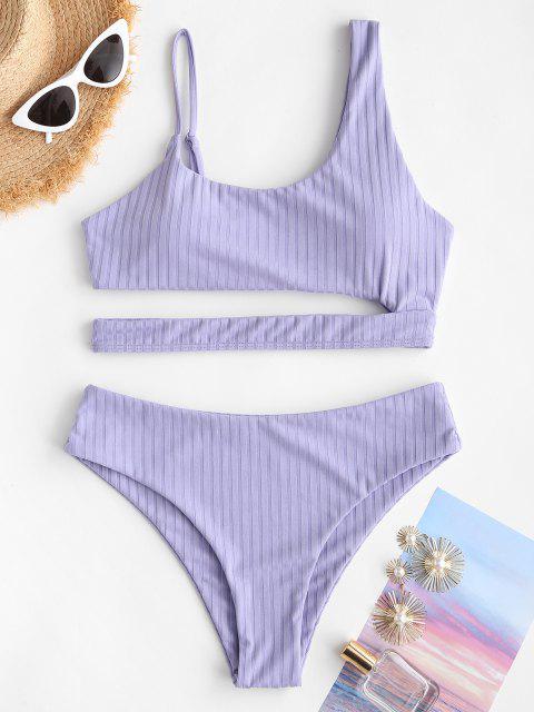 Costume da Bagno Bikini Asimmetrico a Costine di ZAFUL - Viola chiaro S Mobile