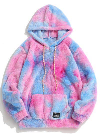 Half Zip Tie Dye Faux Fur Fluffy Hoodie - Pink L