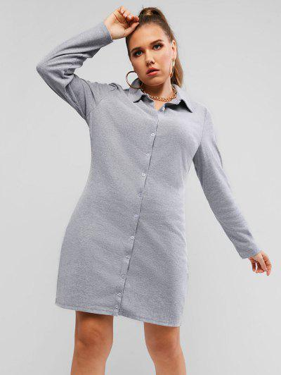 Plus Size Ribbed Button Through Sheath Dress - Light Gray L