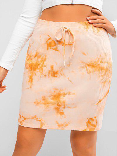 Plus Size Ribbed Tie Dye Slinky Skirt - Orange 2xl