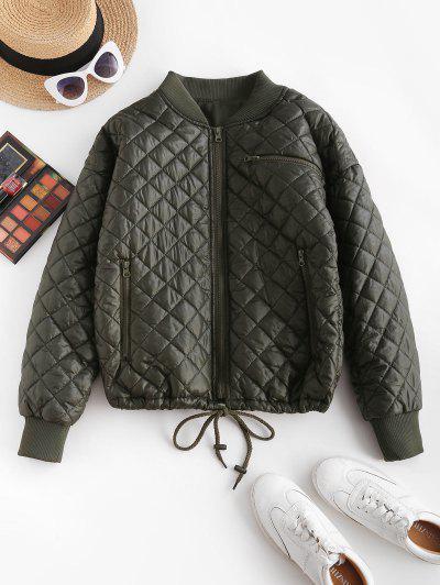 Drawstring Hem Zippered Front Quilted Jacket - Deep Green M