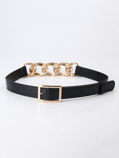 Layered Chain Joint Buckle Belt - Black