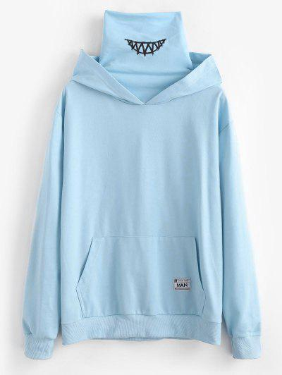 Kangaroo Pocket Letter Applique Double Collar Hoodie - Light Blue S