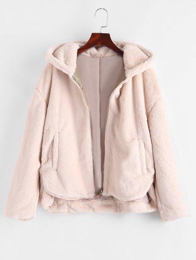 Zip Up Faux Fur Pockets Hooded Coat - Light Coffee S
