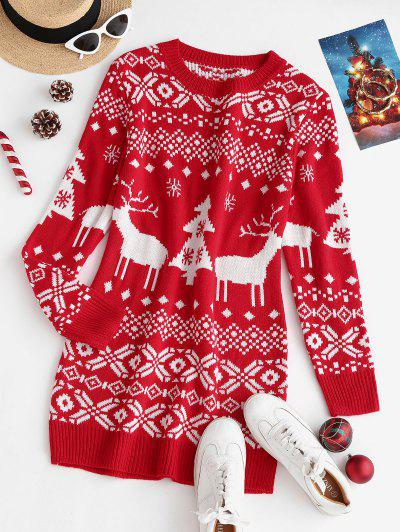 Crewneck Christmas Pattern Sweater Dress - Red