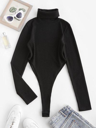 Ribbed Turtleneck High Cut Bodysuit - Black S