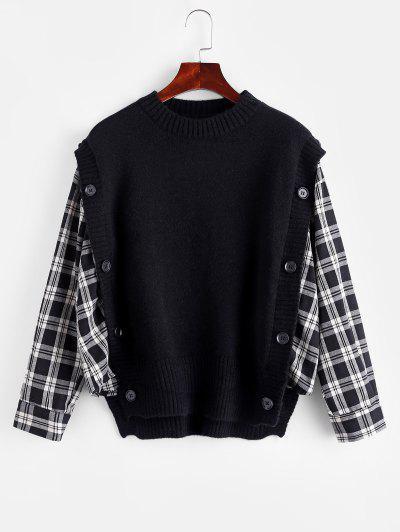 Plaid Mock Button Oversized Twofer Sweater - Black