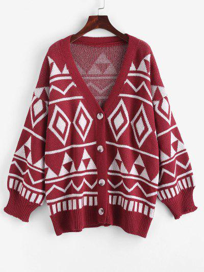 Button Up Geo Graphic Oversize Cardigan - Red