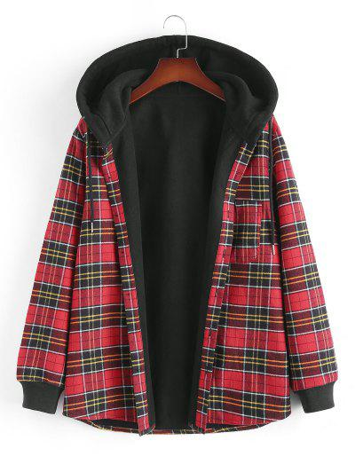 Plaid Fleece Lined Hooded Shirt Jacket - Red M