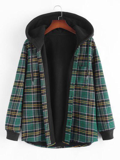 Plaid Fleece Lined Hooded Shirt Jacket - Deep Green L