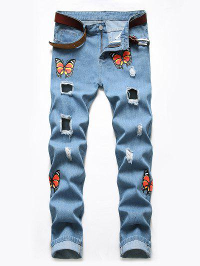 Distressed Destroy Wash Butterfly Jeans - Blue Koi 34