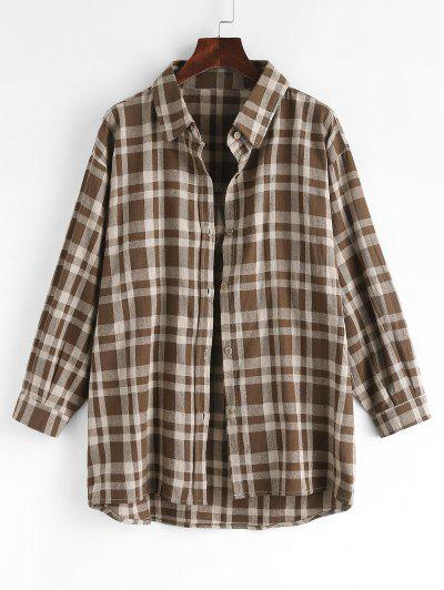 Plaid Drop Shoulder Button Up Shacket - Coffee M