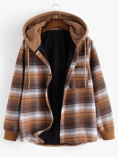 Hooded Button Up Plaid Print Pocket Fleece Jacket - Brown S
