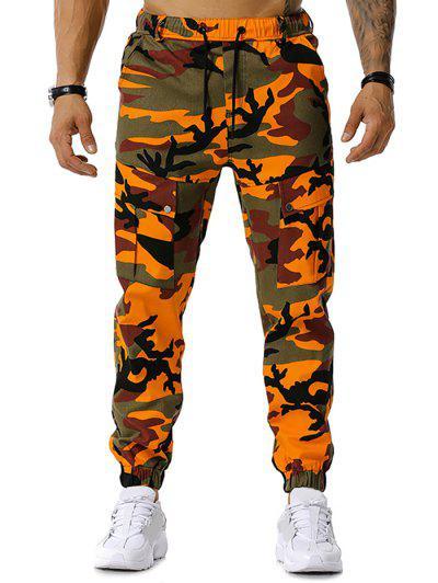 Camouflage Print Drawstring Cargo Pants - Orange S