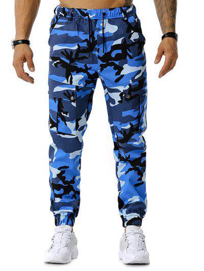 Camouflage Print Drawstring Cargo Pants - Blue M