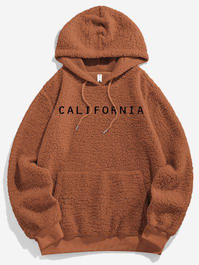 ZAFUL Letter Embroidered Faux Shearling Fluffy Hoodie - Light Brown 2xl
