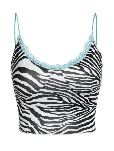ZAFUL Zebra Lace Insert Crop Camisole - White S