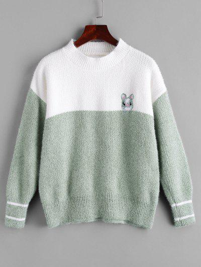 Fuzzy Rabbit Embroidered Colorblock Sweater - Green