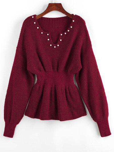 ZAFUL Beading Drop Shoulder Smocked Sweater - Red Wine L