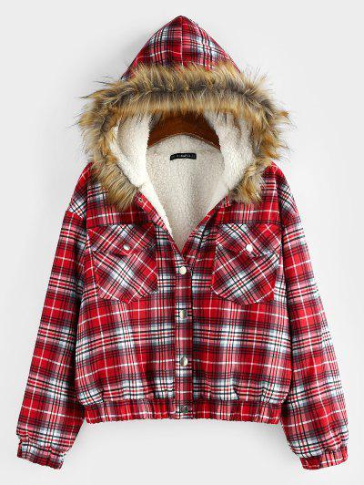 ZAFUL Plaid Drop Shoulder Pocket Teddy Lined Parka Coat - Red M