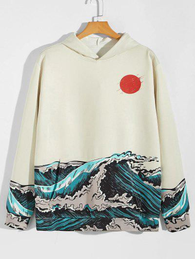 Red Sun Sea Waves Print Hoodie