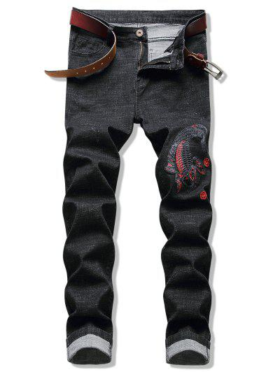 Embroidery Koi Fish Jeans - Night 38