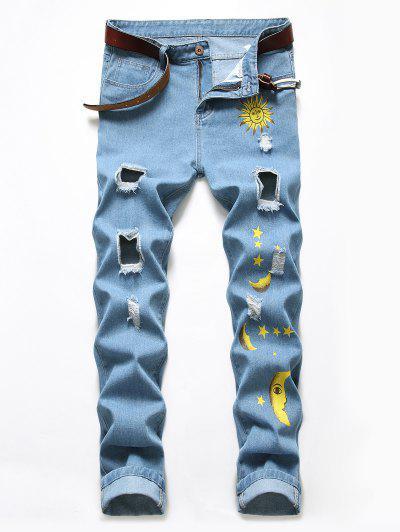 Cartoon Sun Moon And Star Print Ripped Jeans - Blue Koi 38