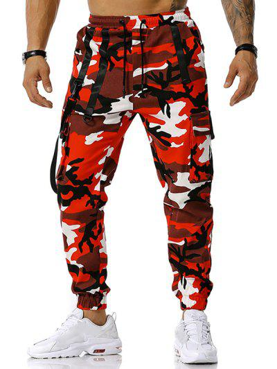 Camouflage Print Hook Strap Cargo Pants - Red L