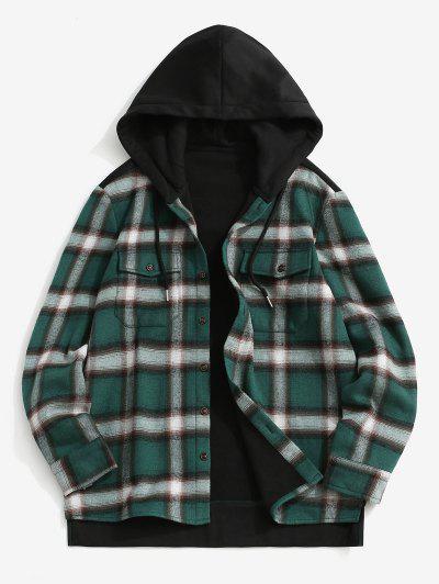 Fleece Lined Plaid Panel Pocket Hooded Shirt Jacket - Black 2xl