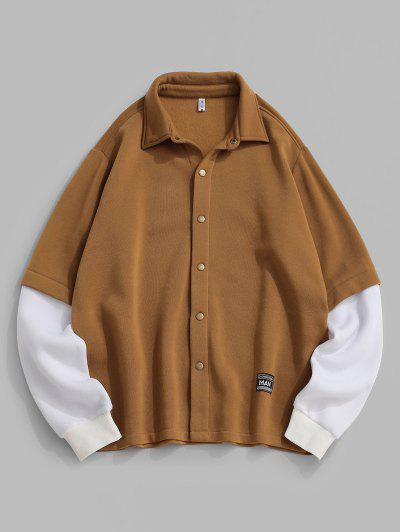 ZAFUL Contrast Doctor Sleeve Letter Applique Fleece Jacket - Coffee S