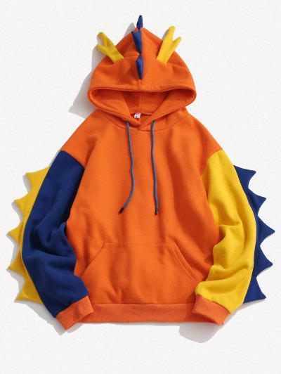 Vlies Gefütterte Farbblock Dinosaurier Hoodie - Orange S