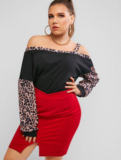 Plus Size Leopard Panel Open Shoulder Top - Black 4xl